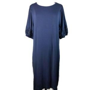 Loft Rayon Gray Eyelet Sleeve Swing T-Shirt Dress